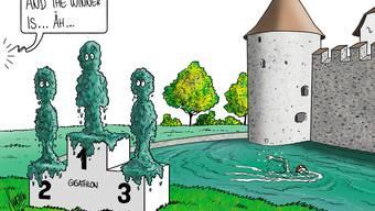 Schwimmen im Brunnengraben von Schloss Hallwyl