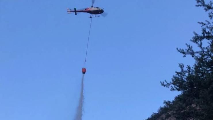 Feuerwehr und Polizei konnten das Feuer in einem Wald bei Riddes VS in knapp zwei Stunden löschen. Unterstützung erhielten sie von einem Helikopter der Air-Glaciers.