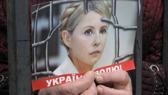 """""""Freiheit für die Ukraine"""" steht auf diesem Plakat mit Julia Timoschenkos Foto geschrieben (Archiv)"""