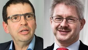 Streit unter Bürgerlichen: Nationalrat Matthias Jauslin (FDP) und Gewerbeverbandspräsident Kurt Schmid (CVP).
