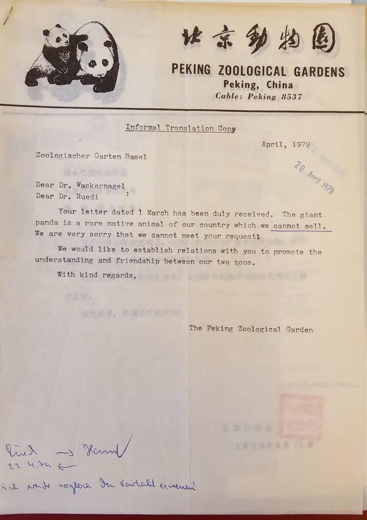 Die Absage aus Peking aus dem Jahr 1917 liegt im Staatsarchiv.