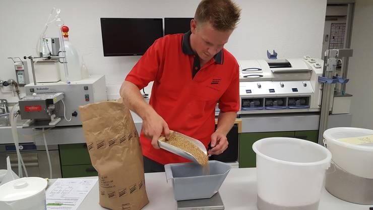 Daniel Meier bereitet eine Probe für die allumfassende Qualitätskontrolle der Ernte vor.