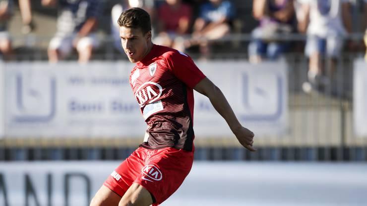Verteidiger Giuseppe Leo erzielte nach einem Freistoss den ersten Treffer für den FC Aarau.