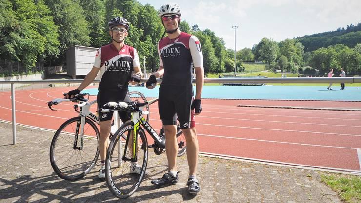 Roberto Di Gregorio (l.) und Ciril Jenzer auf der Sportanlage Aue in Baden, wo sie einen Teil ihrer Trainings absolvieren.