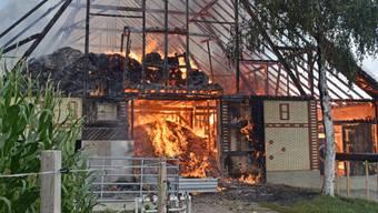 Eine Scheune, in der zwei Pferde standen, wurde bei einem Brand in Triengen vollständig zerstört.