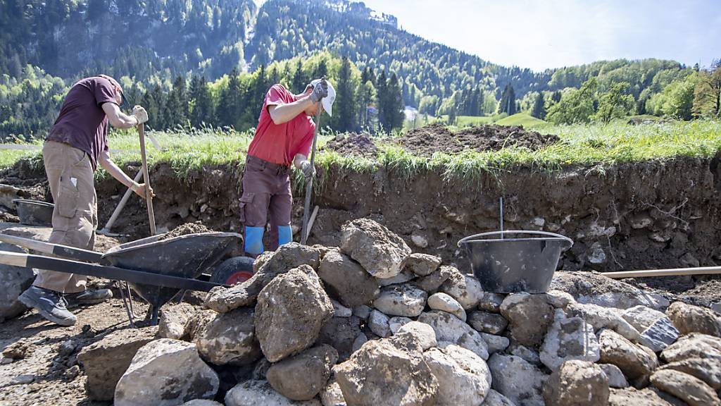 Zivildienstleistende arbeiten an der Sanierung einer Trockenmauer. Künftig soll es schwieriger sein, aus der Armee in den Zivildienst zu wechseln. Das Parlament hat die Hürden erhöht. (Archivbild)