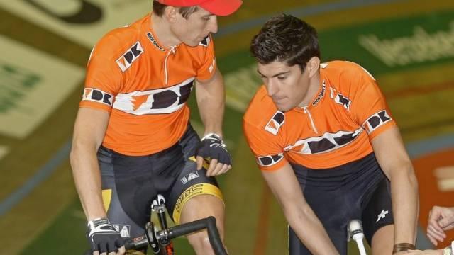 Alexander Aeschbach und Franco Marvulli stehen im Hallenstadion unter Siegdruck