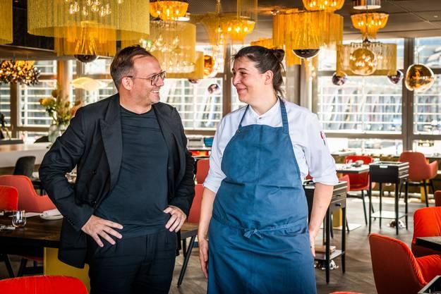 Christian Gujan, Gastgeber, und Michèle Meier, Chef-Köchin, im KKL-Restaurant Lucide.