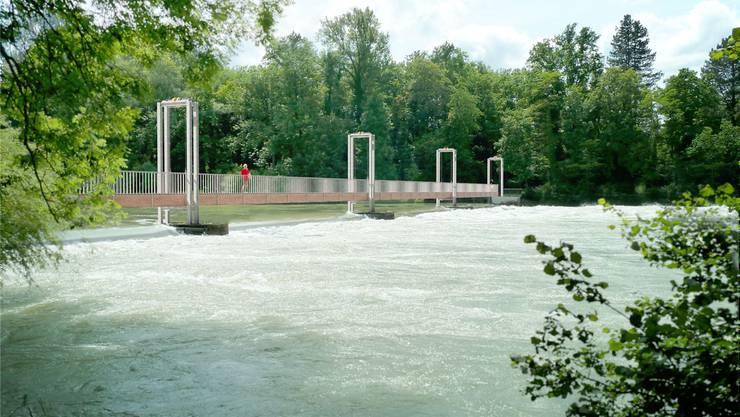 Die Visualisierung zeigt die Holzkonstruktion, die bei Hochwasser hochgezogen werden kann. zvg