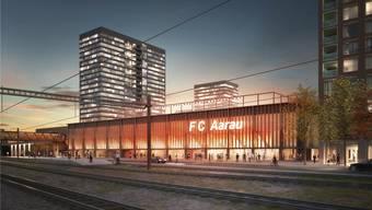 Eine neue Beschwerde könnte dazu führen, dass das neue Stadion des FC Aarau im Torfeld Süd noch länger nur als Visualisierung existiert. Nightnurse/ZVG
