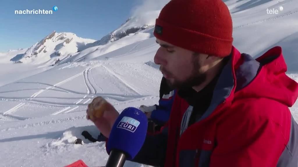 Skifahrer trotzen der Kälte