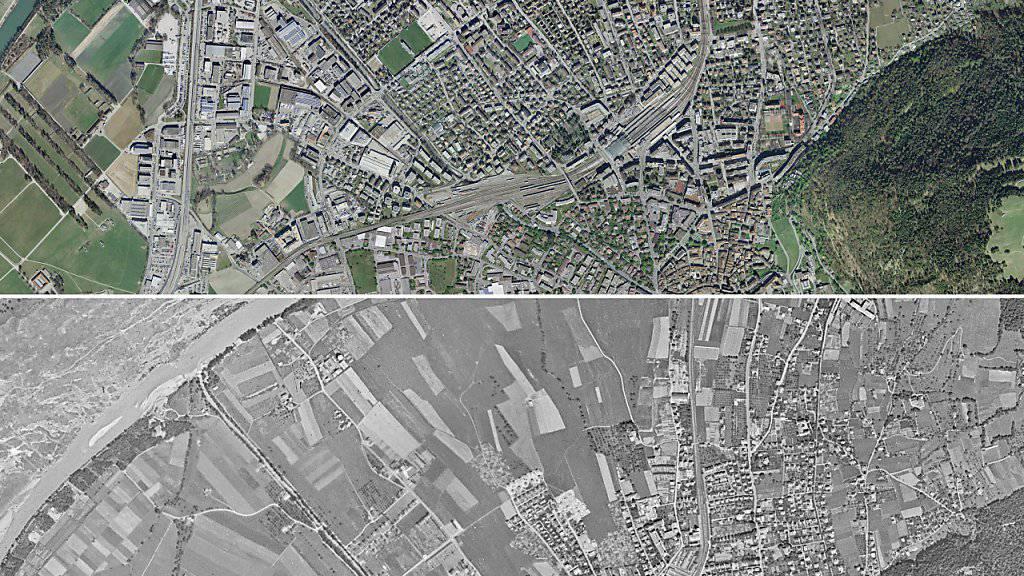 Siedlungen (im Jahr 2014) statt Felder (im Jahr 1946) auch in Chur.