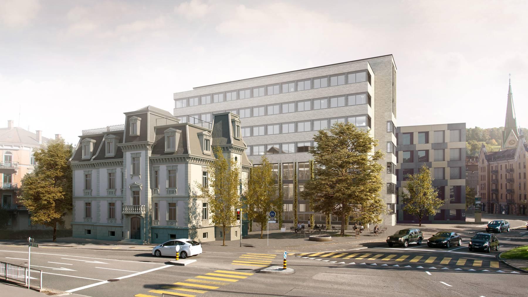 Hotelkomplex hinter altehrwürdiger Villa – so soll es am Bahnhof Nord dereinst aussehen.
