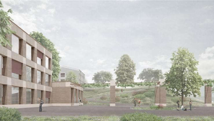 Der Neubau soll südlich des Oberstufenzentrums (im Hintergrund) auf dem bestehenden, roten Allwetterplatz realisiert werden. Visualisierung/zvg