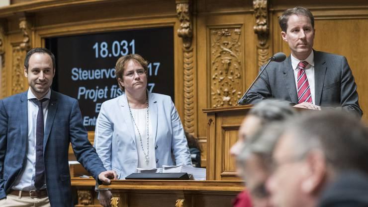 Akteure der Steuervorlage-Debatte (v.l.): Die Nationalräte Christian Wasserfallen (FDP/BE), Magdalena Martullo-Blocher (SVP/GR) und Thomas Aeschi (SVP/ZG).