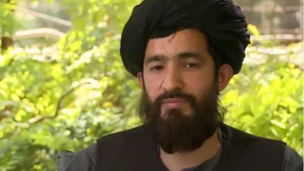 Der ranghohe Taliban-Funktionär Abdul Qahar Balkhi in einem TV-Interview mit dem Sender Al Jazeera vor einer Woche. (Archivbild)