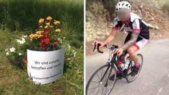 Die Unfallstelle in Böttstein mit der Blumenschale des OKs der Radsporttage Gippingen. Rechts: Das tödlich verunglückte Opfer.