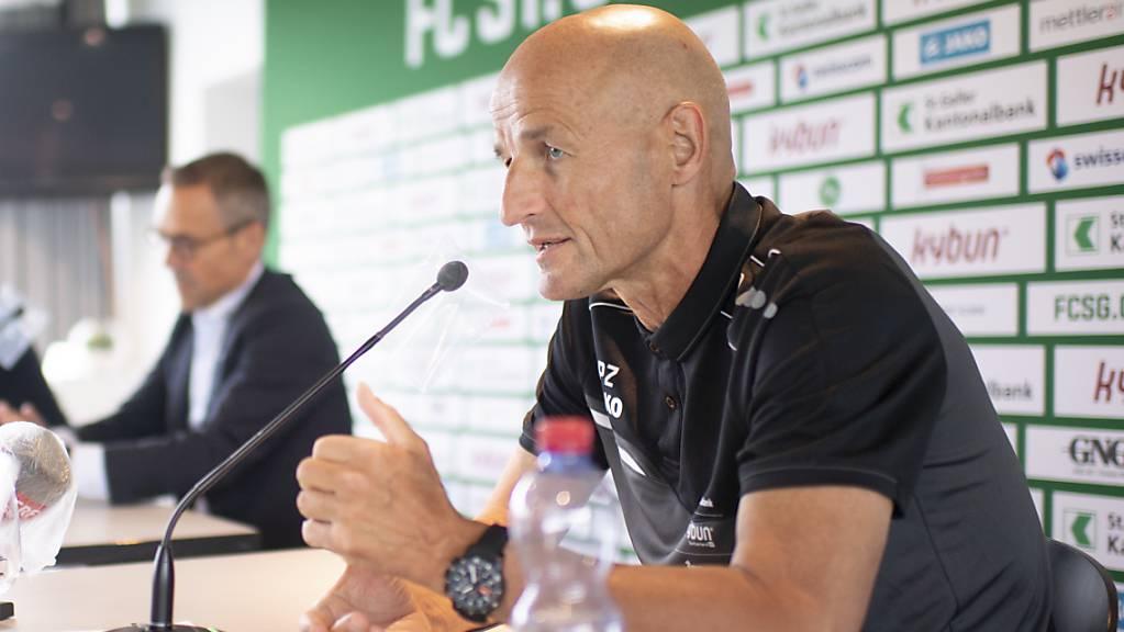 Peter Zeidler wird mit dem FC St.Gallen gegen Thun gefordert sein.