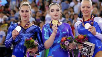 Giulia Steingruber nach der Siegerehrung im Mehrkampf-Final an den Europa-Spielen in Baku
