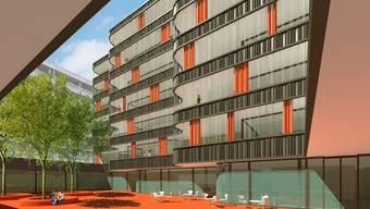 Visualisierung: Neues Wohnhaus und Innenhof, links der Zentralbau.MG