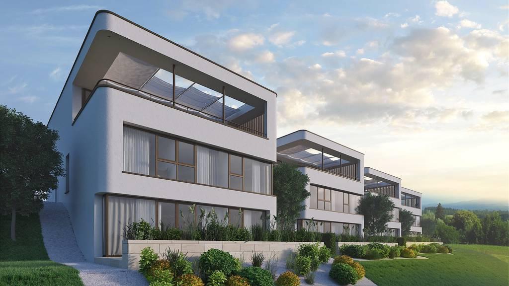 Dieses Haus mit abgerundeten Ecken wird ab 2018 gebaut.  (Visualisierung: THOMA Immobilien Treuhand AG)