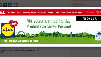 Screenshot des Online-Werbebanners, welches in der Kritik steht.