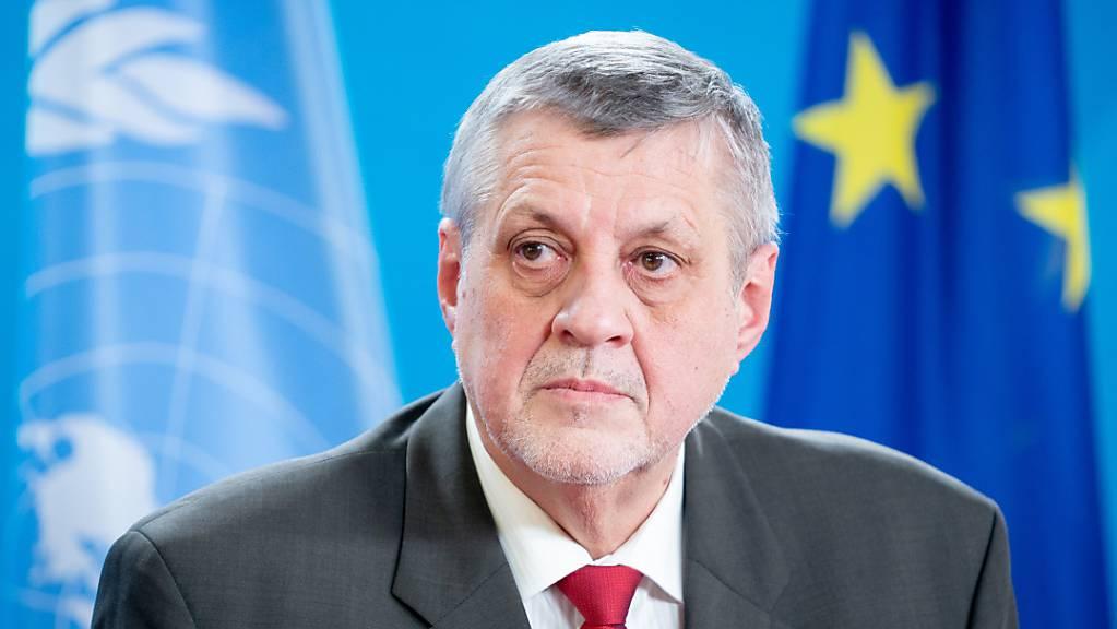 UN-Vermittler für Libyen Jan Kubis ist bei einer Pressekonferenz in Berlin.