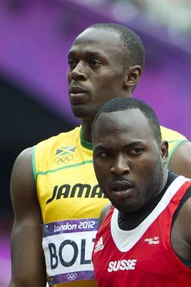 Showmen unter sich: Alex Wilson (vorne) und Usain Bolt.