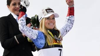 Bei der Siegerehrung im Zielraum jubelte Gold-Anwärterin Lara Gut auch über die letztlich gewonnene Bronzemedaille
