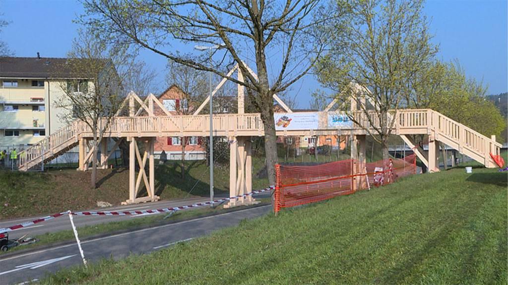Lehrlinge bauen Holzbrücke