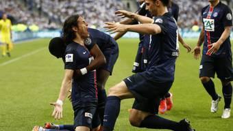 Torschütze Cavani (kniend) wird von Ibrahimovic zum Siegtor bejubelt