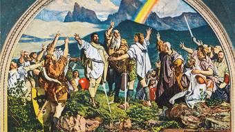 Die Zeit um 1291 war zwar turbulent, aber die Schweiz wurde damals definitiv nicht gegründet: Abbildung des von Ernst Stückelberg gefertigten Freskos mit dem Rütlischwur in der Tellskapelle am Ufer des Vierwaldstättersees bei Sisikon, Kanton Uri, Schweiz.