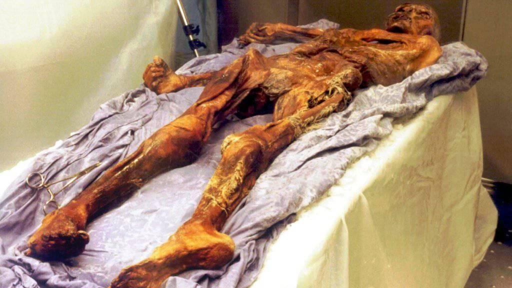 Die etwa 5300 Jahre alte Gletschermumie Ötzi gibt mehr und mehr seiner Geheimnisse Preis. Forscher haben sich nun mit seiner genetischen Geschichte befasst. (Archiv)