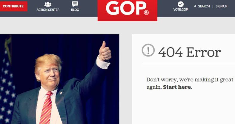 Nichts geht auf der Trump-Webseite.