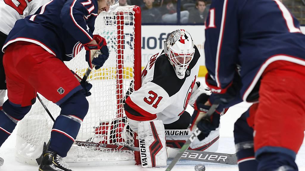 Gilles Senn stand zweimal für die New Jersey Devils in der NHL im Einsatz - einmal kurz vor Weihnachten 2019 in Columbus
