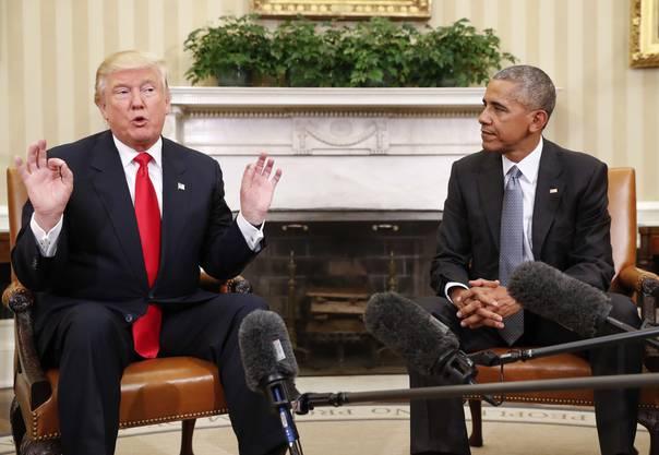 """""""Ich freue mich auf die Zusammenarbeit, das schliesst auch seinen Rat ein"""", sagte Trump an Obamas Adresse."""