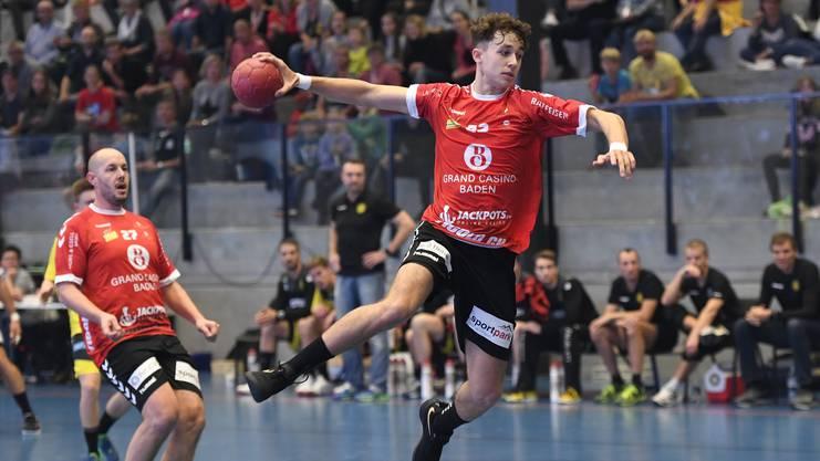 Station Siggenthal, 19.10.2019. Sport, Handball NLA, Saison 2019 / 2020. TV Endingen - St. Otmar St. Gallen. Noah Grau (TVE). Copyright by: Alexander Wagner Station Siggenthal, 19.10.2019. Handball, NLA: TV Endingen - St. Otmar St. Gallen