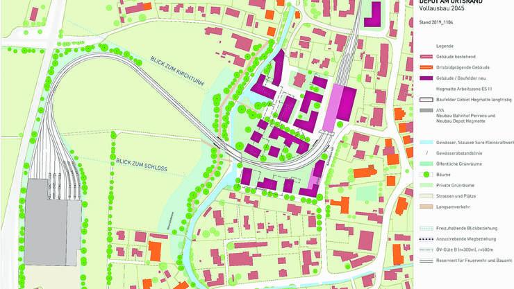 Der Teiländerungsplan der «Hegmatte» mit Bahnanlagen (westlich der Suhre) und dem Mühleareal (Ostseite).