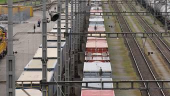 Abgestellte Güterwagen am Rangierbahnhof in Muttenz.