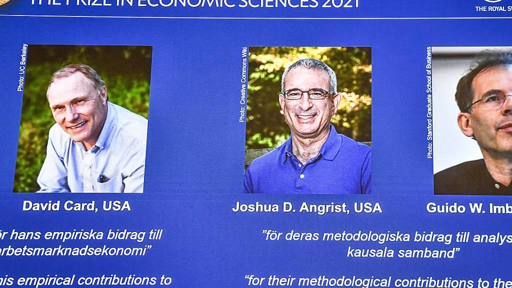 Wirtschaftsnobelpreis geht an Forscher Card, Angrist und Imbens