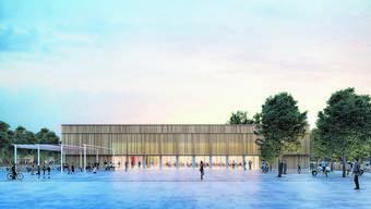 So soll das neue Zentrum aussehen: Blick auf den geplanten Dorfplatz, hinten die Mehrzweckhalle.