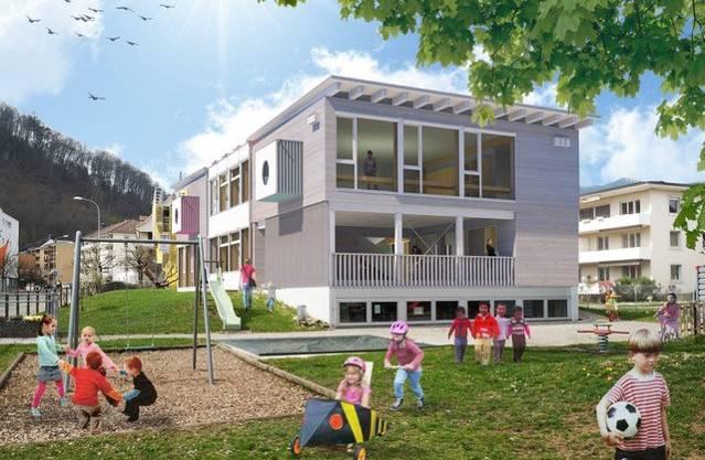 Visualisierung des Neubaus: Etwa so könnte der neue Kindergarten aussehen