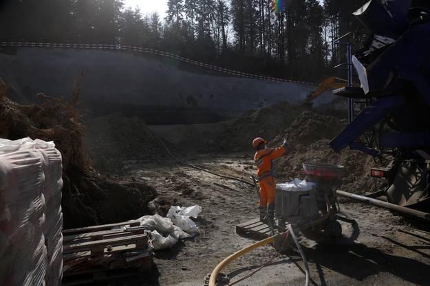 Die Bauarbeiten an der neuen Weissenstein-Seilbahn sind in vollem Gange.