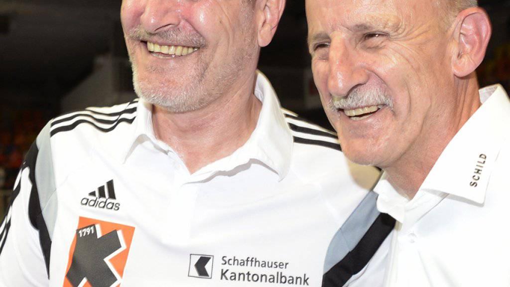 Kadetten-Trainer Lars Walther (links) mit Präsident Giorgio Behr
