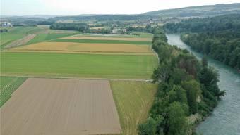 Blick von oben auf die heutigen landwirtschaftlichen Felder.
