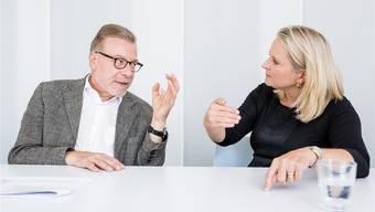 Markus Notter und Nicole Barandun trafen sich in der Redaktion der Limmattaler Zeitung zum Streitgespräch. Sandra Ardizzone