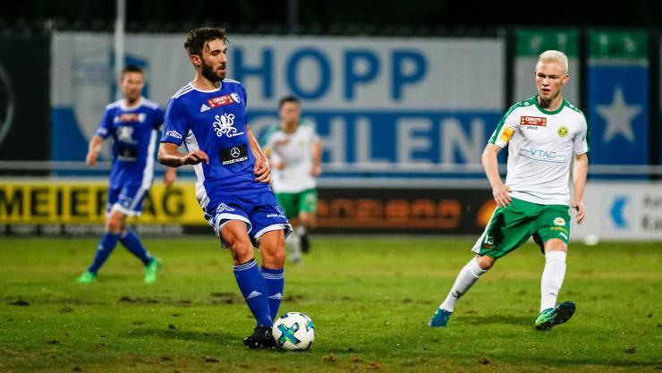 Stefano Milani (links) und sein FC Wohlen holten in Bavois einen Punkt.