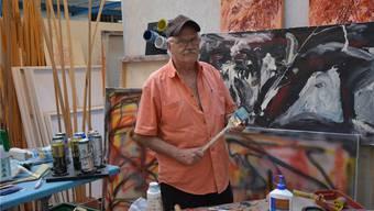Künstler Pedro Meier in seinem Atelier in der Oltner Industrie. Der 75-Jährige ist der Sohn des Schriftstellers Gerhard Meier.Fotos: Isabel Hempen Und Bruno Kissling