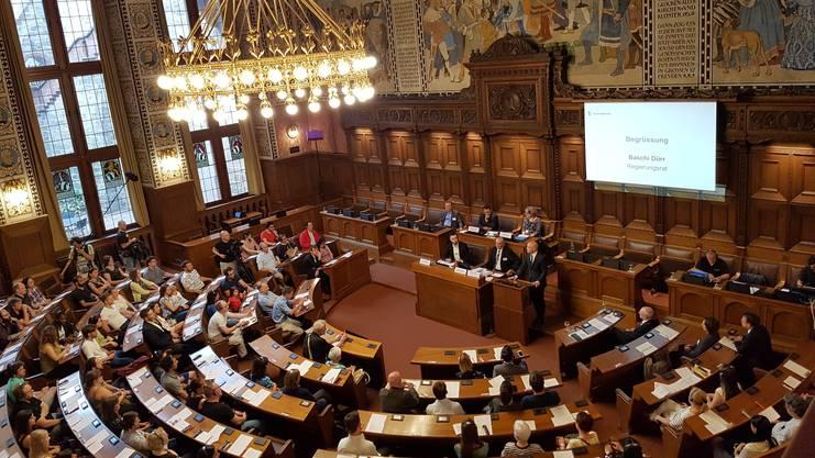 Welcome-Veranstaltung mit Regierungsrat Baschi Dürr im Basler Rathaus.