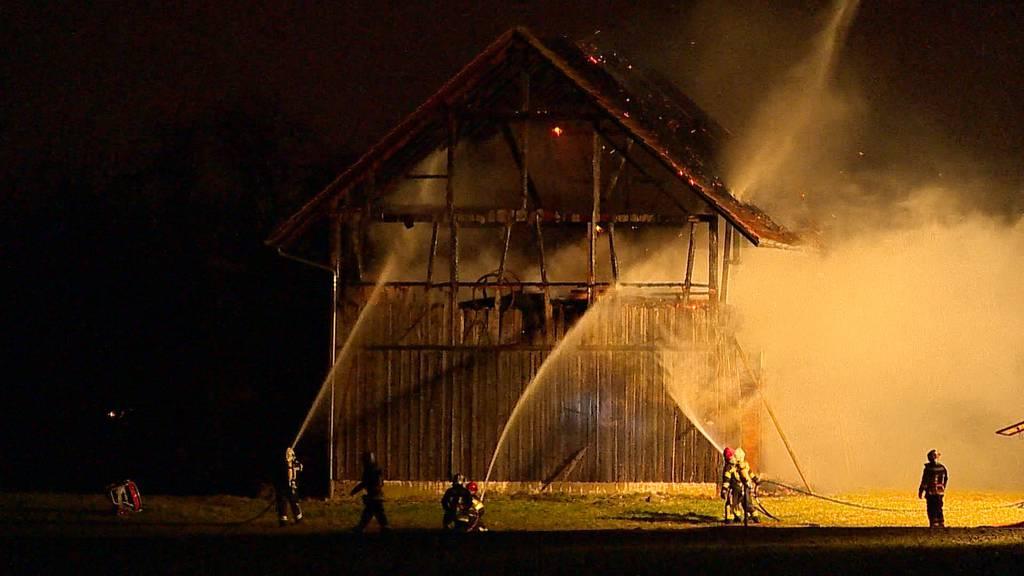 Scheune in Kreuzlingen brennt lichterloh